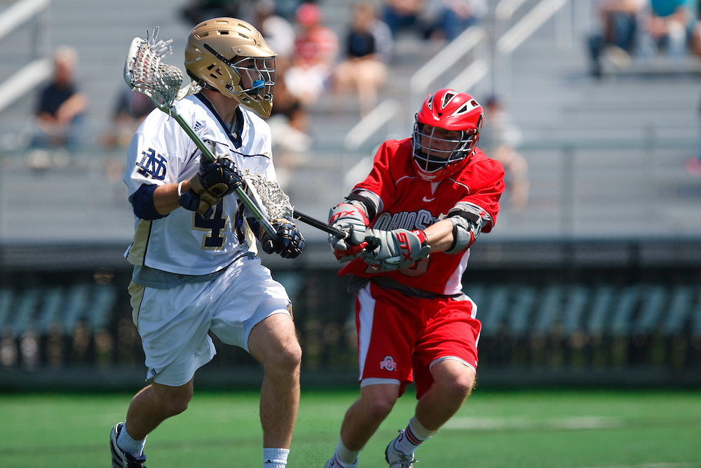 May 3, 2009:  #44 Peter Christman of Notre Dame and #38 Packy Campbell of Ohio State in action during the NCAA Lacrosse game between Notre Dame and Ohio State at GWLL Tournament in Birmingham, Michigan. Notre Dame defeated OSU 16-7. (Credit Image: Rick Osentoski/Cal Sport Media)