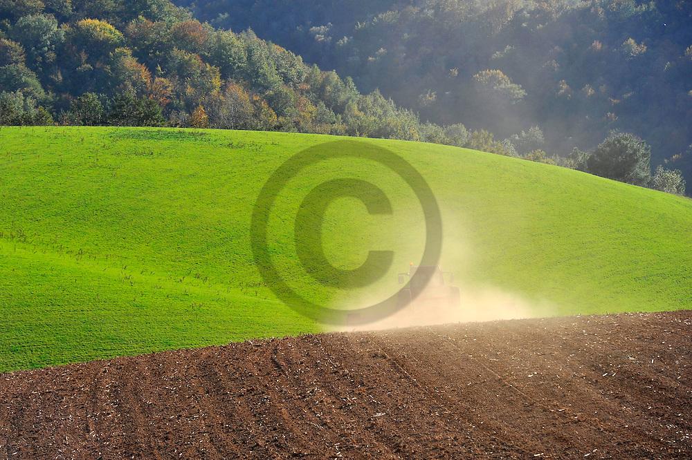 24/10/12 - CHATAIGNERAIE - CANTAL - FRANCE - Preparation des sols en Chataigneraie Cantalienne - Photo Jerome CHABANNE