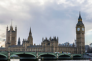 Westminster Bridge, Big Ben (officially known as the Elizabeth Tower) and the Palace of Westminster commonly known as the Houses of Parliament in London, England.