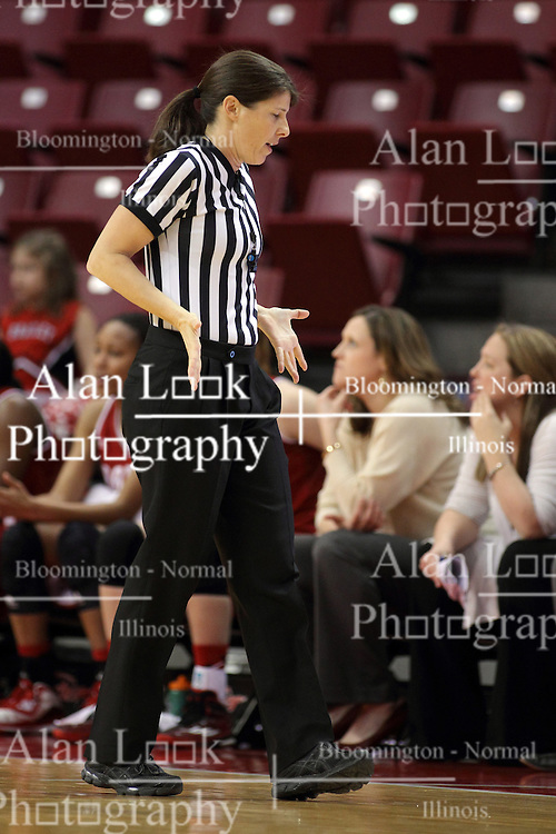 30 January 2015:  Amy Bonner calls a shoving foul during an NCAA women's basketball game between the Bradley Braves and the Illinois Sate Redbirds at Redbird Arena in Normal IL