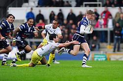 Bristol Rugby Full Back (#15) Auguy Slowik breaks free from Leeds Carnegie Scrum-Half (#9) James Doherty - Photo mandatory by-line: Dougie Allward/JMP - Tel: Mobile: 07966 386802 13/10/2013 - SPORT - FOOTBALL - RUGBY UNION - Memorial Stadium - Bristol - Bristol Rugby v Leeds Carnegie - B&I Cup