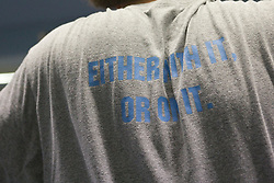 "03 April 2008: North Carolina Tar Heels men's lacrosse t-shirt with the teams slogan ""Either with it. Or on it"", during a practice day in Chapel Hill, NC."