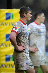 Saracens Inside Centre (#12) Owen Farrell looks on during the second half of the match - Photo mandatory by-line: Rogan Thomson/JMP - Tel: Mobile: 07966 386802 22/12/2012 - SPORT - RUGBY - The Recreation Ground - Bath. Bath Rugby v Saracens - Aviva Premiership.