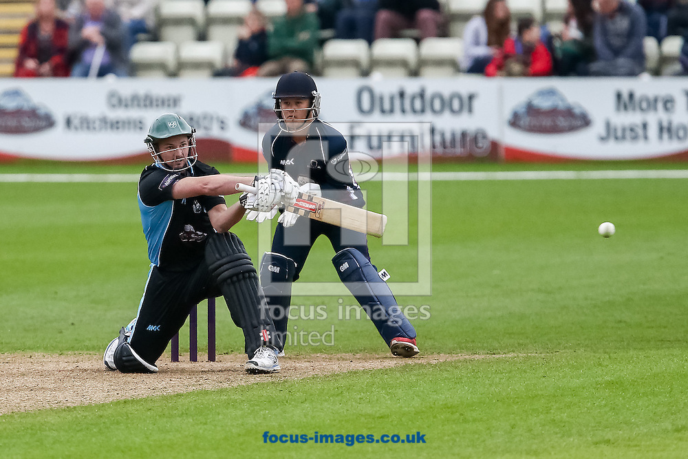 Alexei Kervezee of Worcestershire Rapids plays a switch hit shot during the Natwest T20 Blast match at New Road, Worcester<br /> Picture by Andy Kearns/Focus Images Ltd 0781 864 4264<br /> 30/05/2014