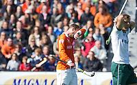 BLOEMENDAAL - HOCKEY - Teleurstelling bij Teun de Nooijer na de play offs hoofdklasse hockeywedstrijd tussen de mannen van Bloemendaal en Rotterdam (1-4) . Rotterdam door naar de finale. FOTO KOEN SUYK