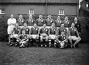 Irish Rugby Football Union, Ireland v New Zealand, Tour Match, Landsdowne Road, Dublin, Ireland, Saturday 9th January, 1954,.9.1.1954, 1.9.1954,..Referee- DR P F Cooper, Rugby Union,..Score- Ireland 3 - 14 New Zealand,..Irish Team,..J G M W Murphy, Wearing number 15 Irish jersey, Full Back, Lurgan Rugby Football Club, Armagh, Northern Ireland, ..M Mortell, Wearing number 14 Irish jersey, Right wing, Bective Rangers Rugby Football Club, Dublin, Ireland, and, Dolphin Rugby Football Club, Cork, Ireland, ..N J Henderson, Wearing number 13 Irish jersey, Right centre, N.I.F.C, Rugby Football Club, Belfast, Northern Ireland, ..A C Pedlow, Wearing number 12 Irish jersey, Left centre, Queens University Rugby Football Club, Belfast, Northern Ireland,..J T Gaston, Wearing number 11 Irish jersey, Left wing, Dublin University Rugby Football Club, Dublin, Ireland, .. J W Kyle, Wearing number 10 Irish jersey, Captain of the Irish team, Stand Off, N.I.F.C, Rugby Football Club, Belfast, Northern Ireland, ..J A O'Meara, Wearing number 9 Irish jersey, Scrum half, Dolphin Rugby Football Club, Cork, Ireland, ..J H Smith, Wearing number 1 Irish jersey, Forward,  London Irish Rugby Football Club, Surrey, England, ..F E Anderson, Wearing number 2 Irish jersey, Forward, Queens University Rugby Football Club, Belfast, Northern Ireland,..W A O'Neill, Wearing number 3 Irish jersey, Forward, Wanderers Rugby Football Club, Dublin, Ireland, ..R H Thompson, Wearing number 4 Irish jersey, Forward, Instonians Rugby Football Club, Belfast, Northern Ireland, ..P J Lawlor, Wearing number 5 Irish jersey, Forward, Clontarf Rugby Football Club, Dublin, Ireland,..J S McCarthy, Wearing number 6 Irish jersey, Forward, Dolphin Rugby Football Club, Cork, Ireland, ..T E Reid, Wearing number 7 Irish jersey, Forward, Garryowen Rugby Football Club, Limerick, Ireland, ..R Kavanagh, Wearing number 8 Irish jersey, Forward, Wanderers Rugby Football Club, Dublin, Ireland, .