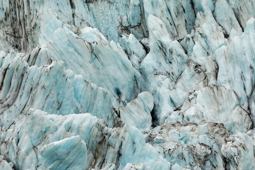 Ice striations in Surprise Glacier in Prince William Sound in Southcentral Alaska. Summer. Morning.