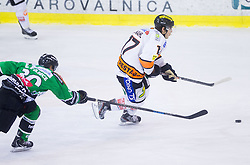 19.01.2014, Hala Tivoli, Ljubljana, SLO, EBEL, HDD Telemach Olimpija Ljubljana vs Moser Medical Graz 99ers, 2. Plazierungsrunde, in picture  Erik Pance (HDD Telemach Olimpija) and Manuel Ganahl (Graz 99ers)  during the Erste Bank Icehockey League 2nd Placing round  between HDD Telemach Olimpija Ljubljana and Moser Medical Graz 99ers at the Hala Tivoli, Ljubljana, Slovenia on 2014/01/19. Photo by Vid Ponikvar / Sportida