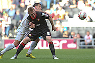 Picture by David Horn/Focus Images Ltd +44 7545 970036.29/09/2012.Charlie Macdonald (left) of Milton Keynes Dons and Mark Ellis of Crewe Alexandra during the npower League 1 match at stadium:mk, Milton Keynes.