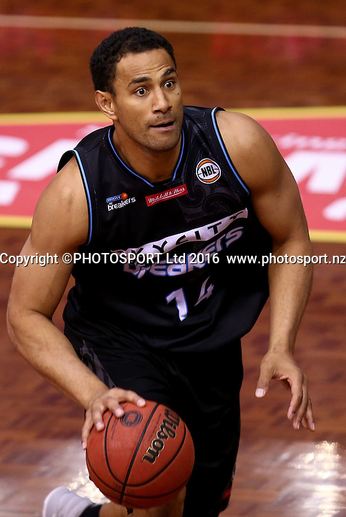 Breakers` Mika Vukona in his 300th game in the Round 3 ANBL Basketball Match, New Zealand Breakers v Sydney Kings, North Shore Events Centre, Auckland, New Zealand, Thursday, October 20, 2016. Copyright photo: David Rowland / www.photosport.nz