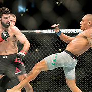 Sheymon Moraes (grey trunks) defeated Matt Sayles (black trunks) in a featherweight bout at UFC 227 held at the Staples Center in Los Angeles on August 4, 2018. Photo by Todd Bigelow for ESPN.