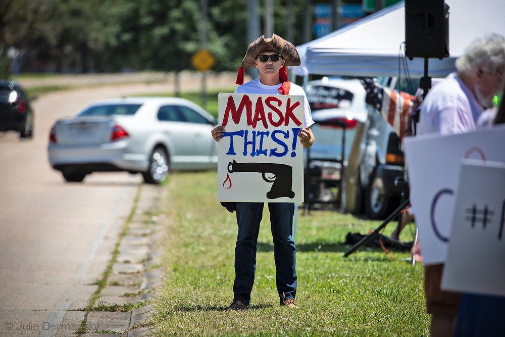 May 2, 2020 Baton Rouge, LA-A  Open Louisiana protest, where people came out to show Gov. John Bel Edwards their displeasure with his order keeping the stay-at-home measures he put in place to stop the spread of COVID=19 in place until May 15