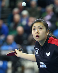February 23, 2018 - London, England, United Kingdom - Tin-Tin HO of England .during 2018 International Table Tennis Federation World Cup match between Tin-Tin HO of England against Tianwei FENG of Singapore   at Copper Box Arena, London  England on 23 Feb 2018. (Credit Image: © Kieran Galvin/NurPhoto via ZUMA Press)