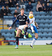 16th September 2017, Dens Park, Dundee, Scotland; Scottish Premier League football, Dundee versus St Johnstone; Dundee's Jack Hendry and St Johnstone's Steven MacLean compete for the ball