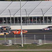 Sprint Cup Series driver Regan Smith (78) spins during the Daytona 500 at Daytona International Speedway on February 20, 2011 in Daytona Beach, Florida. (AP Photo/Alex Menendez)