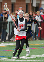 Natalie Compton charges the ball down the field during the Girls Lacrosse Scrimmage with Windham on Saturday afternoon.  (Karen Bobotas/for the Laconia Daily Sun)