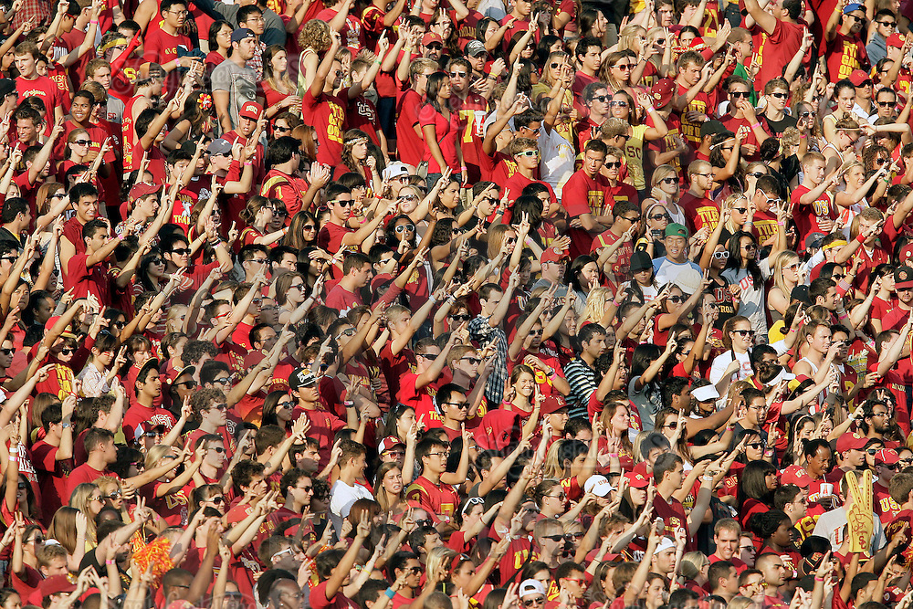 September 17, 2011: Sea of USC Trojan fans in the student section cheering during the NCAA College football game for the Big East Syracuse Orange visiting the Pac-12 USC Trojans for the first time since 1924 inside the Los Angeles Memorial Coliseum.