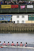 Hammersmith, GREAT BRITAIN,  Radley, pass under Hammersmith Bridge,during the 2008 School Head of the River Race,  04/03/2008  2008. [Mandatory Credit, Peter Spurrier/Intersport-images] Rowing Course: River Thames, Championship course, Putney to Mortlake 4.25 Miles, Hammersmith Bridge