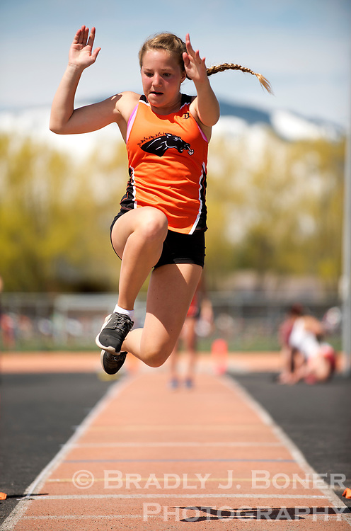 Jackson Hole High School freshman Dylan Kling takes her third try at the long jump during the school's track meet Saturday afternoon. See Wednesday's Jackson Hole News&Guide for results from the team's only home meet of the season.