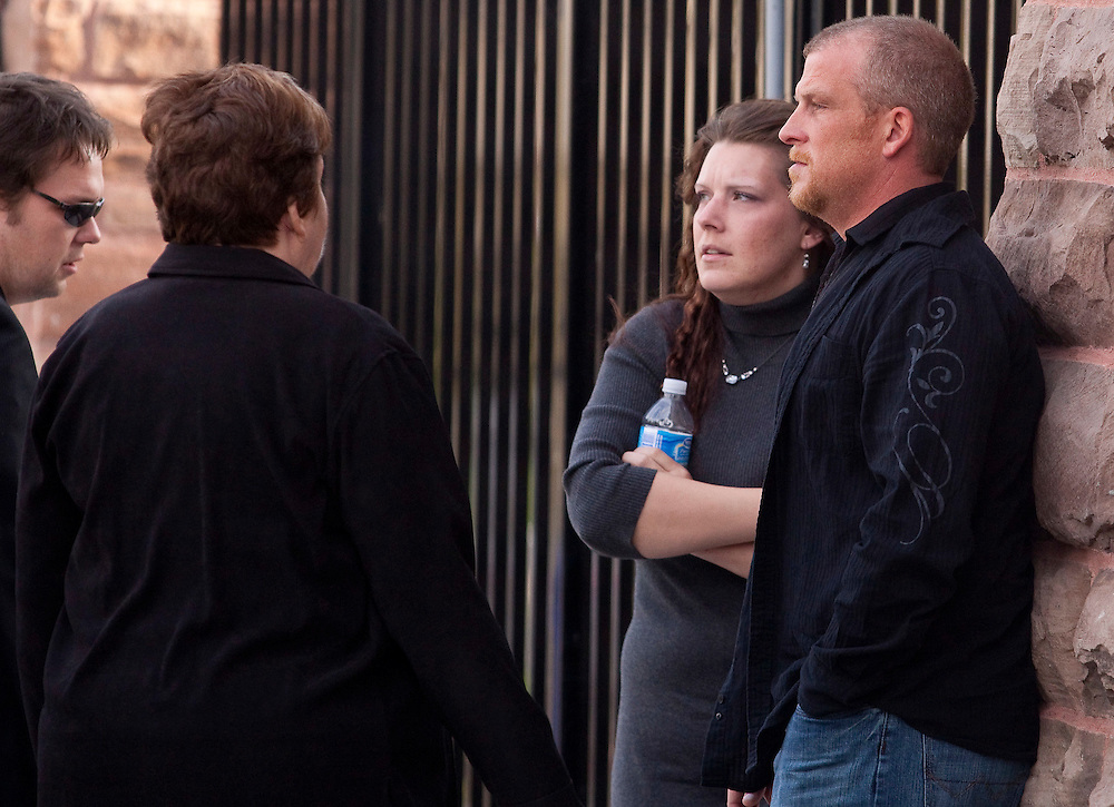 Rodney Stafford, and Tara McDonald, parents of murdered 8 year old Tori Stafford take a break outside the courthouse in Woodstock, Ontario, April 30, 2010 before the appearance of Terri-Lynne McClintic, who is accused of first-degree murder and kidnapping in Tori's death.<br /> CP Photo/GEOFF ROBINS