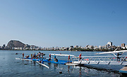 "Rio de Janeiro. BRAZIL.  Busy Boating Area.   2016 Olympic Rowing Regatta. Lagoa Stadium,<br /> Copacabana,  ""Olympic Summer Games""<br /> Rodrigo de Freitas Lagoon, Lagoa. Local Time 15:12:36   Friday  05/08/2016 <br /> <br /> [Mandatory Credit; Peter SPURRIER/Intersport Images]"
