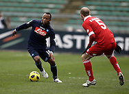Bari (BA), 23-01-2011 ITALY - Italian Soccer Championship Day 21 - Bari VS Napoli..Pictured: Zunica (N) Masiello (B).Photo by Giovanni Marino/OTNPhotos . Obligatory Credit