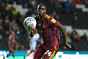 Ipswich Town defender Kane Vincent-Young (24) has eyes on the ball during the EFL Sky Bet League 1 match between Milton Keynes Dons and Ipswich Town at stadium:mk, Milton Keynes, England on 17 September 2019.