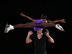 Pairs ninth place Vanessa James and Morgan Cipres of France perform during an exhibition program at the ISU World Figure Skating Championships at Shanghai Oriental Sports Center in Shanghai, China, 29 March 2015.