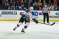 KELOWNA, CANADA - JANUARY 9:  Dalton Gally #3 of the Kelowna Rockets skates against the Everett Silvertips on January 9, 2019 at Prospera Place in Kelowna, British Columbia, Canada.  (Photo by Marissa Baecker/Shoot the Breeze)