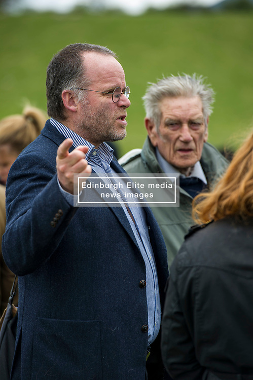 Pictured: Andy Wightmand and farmer Jim Telfer<br /> <br /> The Scottish Green Party's Andy Wightman, MSP, joined local election candidate Ian Baxter at the proposed site of a new film studio in Edinburgh ahead of the local council elections.<br /> Ger Harley | EEm 17 April 2017