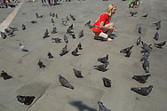 Woman feeding the pigeons in San Marco Piazza