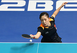 February 23, 2018 - London, England, United Kingdom - Ning DING of China  and Shiwen LIU of China .during 2018 International Table Tennis Federation World Cup match between Ning DING of China  and Shiwen LIU of China .against Amy WANG of USA  and Yue WU of USA  at Copper Box Arena, London  England on 23 Feb 2018. (Credit Image: © Kieran Galvin/NurPhoto via ZUMA Press)