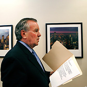 Mayor Richard Daley walks to a press conference after presiding over his last City Council meeting  Wednesday May 4, 2011.  Photography by Jose More