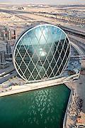 Abu Dhabi aerial shot of Aldar HQ