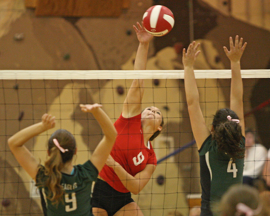 Southwestern's Sally Rudny spikes the ball during volleyball action at Southwestern 9-22-15 photo by Mark L. Anderson