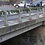 Writing painted onto the wall underneath the bridge in the main street of Sandy Hook after yesterday's shootings at Sandy Hook Elementary School, Newtown, Connecticut, USA. 15th December 2012. Photo Tim Clayton