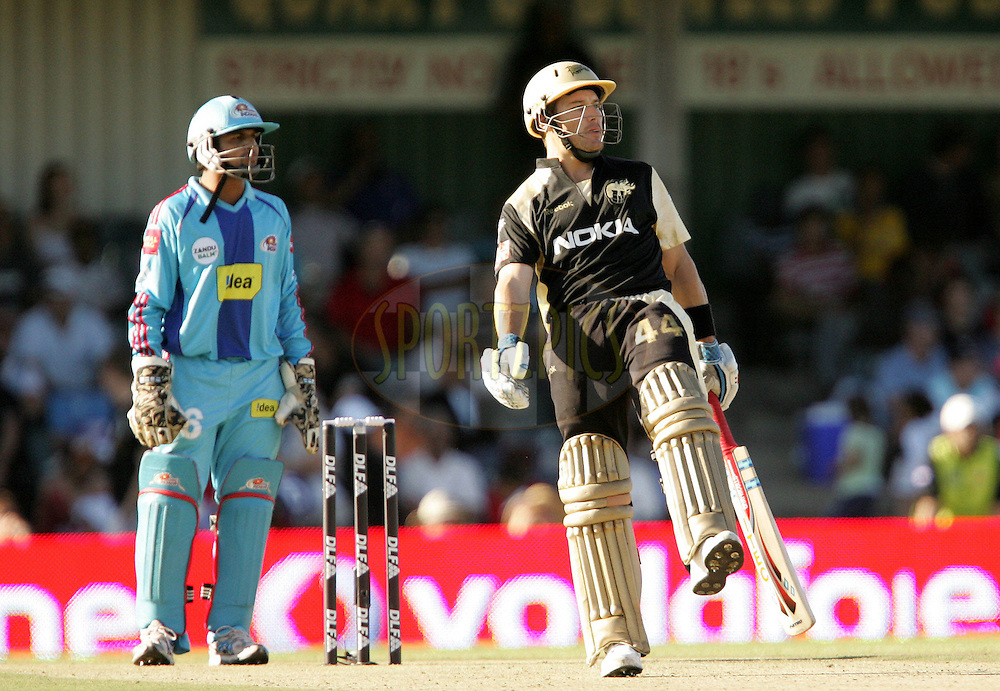 EAST LONDON, SOUTH AFRICA - 1 May 2009. Morne van Wyk shows his frustration during the  IPL Season 2 match between the Mumbai Indians and the Kolkata Knight Riders held at Buffalo Park in East London. South Africa..