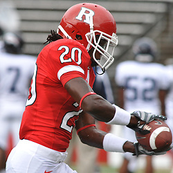 Sep 12, 2009; Piscataway, NJ, USA;  Rutgers cornerback Khaseem Greene (20) catches a pass during warmups before Rutgers' 45-7 victory over Howard in NCAA College Football at Rutgers Stadium.