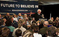 Democratic presidential candidate Bernie Sanders addresses supporters at the Weirs Beach Community Center on Monday morning.  (Karen Bobotas/for the Laconia Daily Sun)