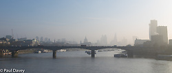 London, March 28th 2017. London weather: A hazy spring morning greets Londoners as they make their way in to work