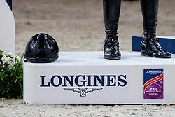 Siegerehrungspodest<br /> Paris - FEI World Cup Finals 2018<br /> Longines FEI World Cup Jumping Final IV<br /> www.sportfotos-lafrentz.de/Stefan Lafrentz<br /> 15. April 2018