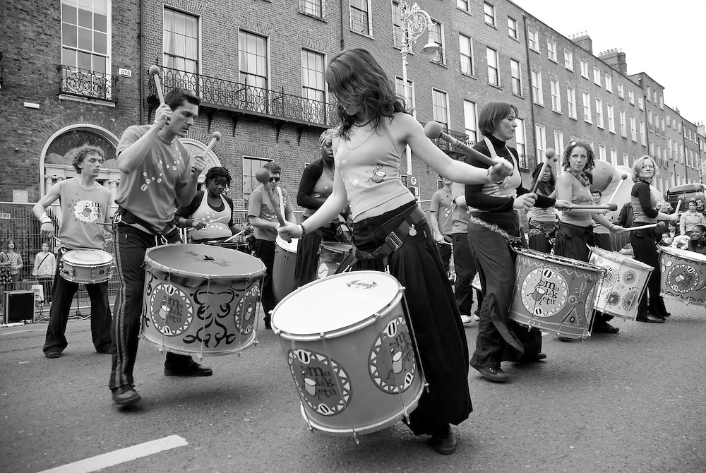 A group drummers performing on the streets of Dublin during the 2009 St. Patrick's Festival.Since it's establishment in 1995 the St. Patrick's Festival has become the biggest festival in Ireland. It takes place annually on or around St. Patrick's Day, the 17th of March. The highlight of the festival is the St. Patrick's Day Parade which winds it's way through the streets of Dublin on St. Patricks Day.
