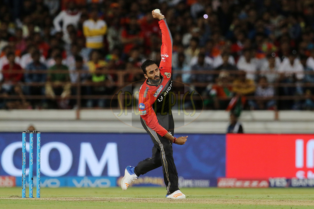 Sreenath Arvind of the Royal Challengers Bangalore bowls during match 20 of the Vivo 2017 Indian Premier League between the Gujarat Lions and the Royal Challengers Bangalore  held at the Saurashtra Cricket Association Stadium in Rajkot, India on the 18th April 2017<br /> <br /> Photo by Vipin Pawar - Sportzpics - IPL