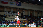 Lukasz Kubot of Poland competes during the BNP Paribas Davis Cup 2013 between Poland and Australia at Torwar Hall in Warsaw on September 13, 2013.<br /> <br /> Poland, Warsaw, September 13, 2013<br /> <br /> Picture also available in RAW (NEF) or TIFF format on special request.<br /> <br /> For editorial use only. Any commercial or promotional use requires permission.<br /> <br /> Photo by &copy; Adam Nurkiewicz / Mediasport