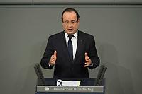 22 JAN 2013, BERLIN/GERMANY:<br /> Francois Hollande, Staatspraesident Frankreich, haelt eine Rede, waehrend der gemeinsamen Sitzung der Assemblee nationale und des Bundestages sowie der Regierungen, des Staatspraesidenten und des Bundespraesidenten anl. des 50. Jahrestages der Unterzeichnung des Elysee-Vertrages, Plenum, Deustcher Bundestag<br /> IMAGE: 20130122-01-014<br /> KEYWORDS: Assembl&eacute;e nationale, Elysee-Vertrag, Elys&eacute;e-Vertrag, Fran&ccedil;ois Hollande