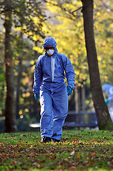 &copy; Licensed to London News Pictures.03/11/2017.<br /> PENGE, UK.<br /> POLICE FORENSICS AT THE SCENE.<br /> A Murder investigation has been launched following a fatal stabbing in Penge at Betts Park, Anerley Road,<br /> Police were called at 19.22 hrs on Thursday 2 November to Betts Park,Penge near Bromley to reports of a male having been attacked. The victim was pronouced dead at the scene. The park is closed off by police.<br /> Photo credit: Grant Falvey/LNP