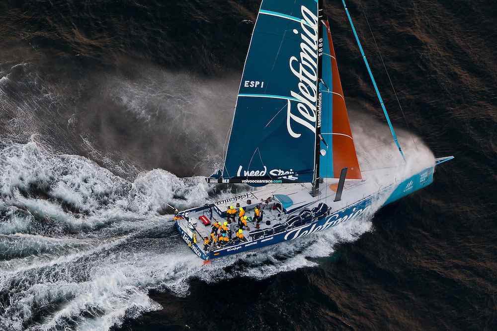 SOUTH AFRICA, Cape Town. 26th November 2011. Volvo Ocean Race. Telefonica approach the finish of Leg 1 in Cape Town.