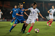 Demi Stokes (England) (Manchester City) and Aurora Galli (Italy) (Verona) during the Women's International Friendly match between England Ladies and Italy Women at Vale Park, Burslem, England on 7 April 2017. Photo by Mark P Doherty.
