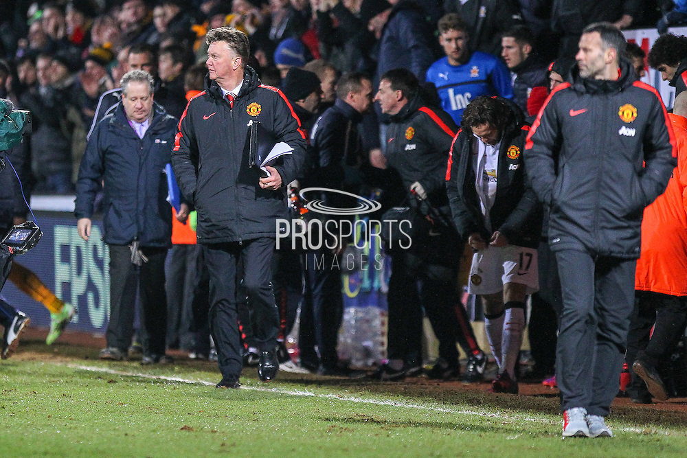 Manchester United's Manager Louis van Gaal during the The FA Cup match between Cambridge United and Manchester United at the R Costings Abbey Stadium, Cambridge, England on 23 January 2015. Photo by Phil Duncan.
