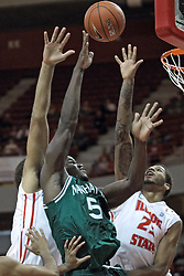 20 November 2013:  Rhamel Brown gets inside of Reggie Lynch and Michael Middlebrooks during an NCAA Non-Conference mens basketball game between theJaspers of Manhattan and the Illinois State Redbirds in Redbird Arena, Normal IL